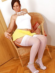 lesbian pink strapon and stockings